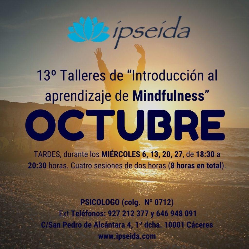 """13º Talleres de """"Introducción al aprendizaje de Mindfulness"""""""